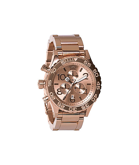 Nixon 42-20 All Rose Gold Chronograph Watch | Zumiez