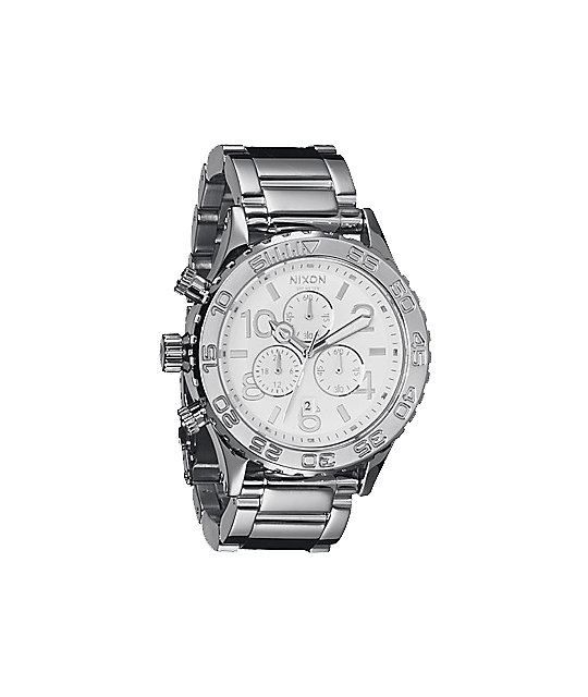 Nixon 42-20 Silver High Polish Chronograph Watch