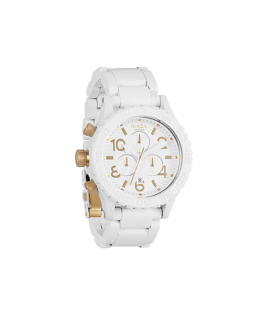 Nixon 42-20 White & Gold Chronograph Watch
