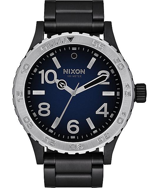 Nixon 46 ombre black blue watch at zumiez pdp for Watches zumiez