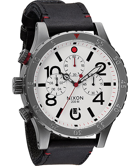 Nixon 48-20 Gunmetal & White Leather Chronograph Watch