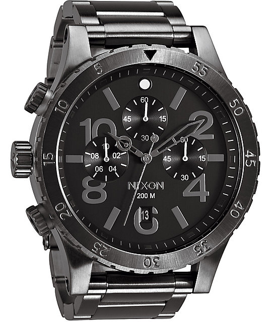 Nixon 48-20 Gunmetal Chronograph Watch