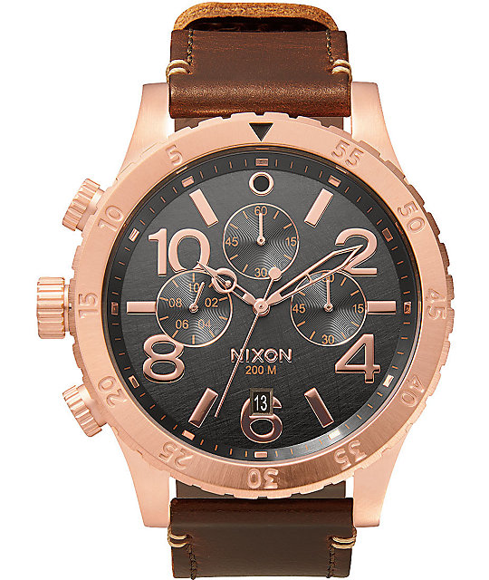 Nixon 48 20 leather chronograph watch at zumiez pdp for Watches zumiez