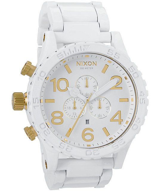 nixon 51 30 all white gold chronograph