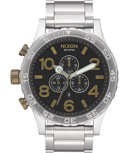 Nixon 51-30 Black & Brass Chronograph Watch