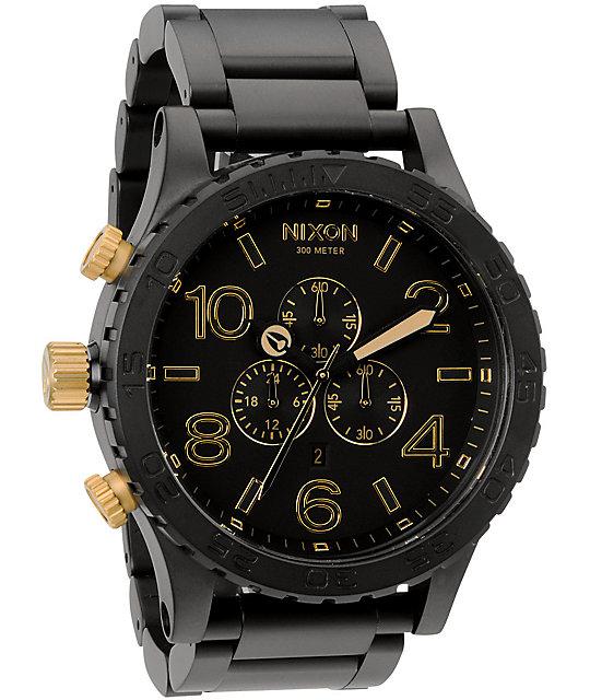 Nixon 51 30 chrono matte black gold watch for Watches zumiez