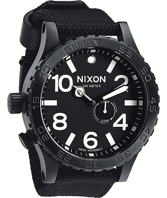 Nixon 51-30 Tide All Black Nylon Analog Watch