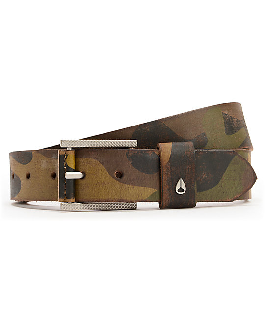 Nixon Americana Woodland Camo Leather Belt