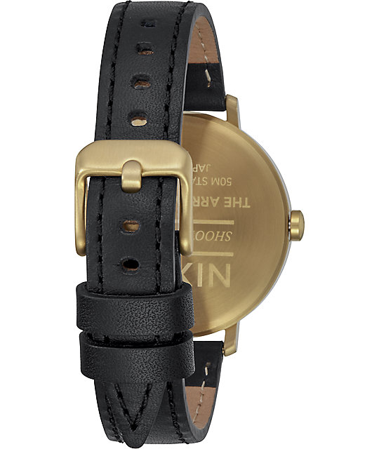 Nixon Arrow Leather Gold & Black Watch