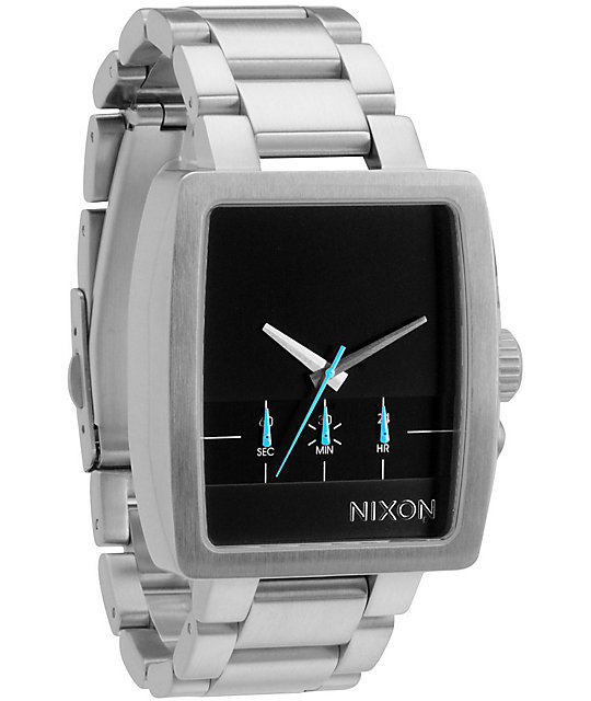 Nixon Axis Silver & Black Chronograph Watch