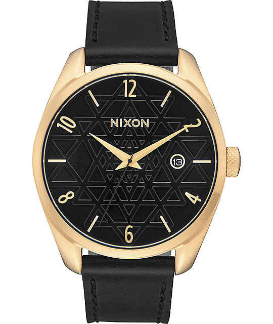 Nixon Bullet Leather Sacred Geo Gold & Black Watch