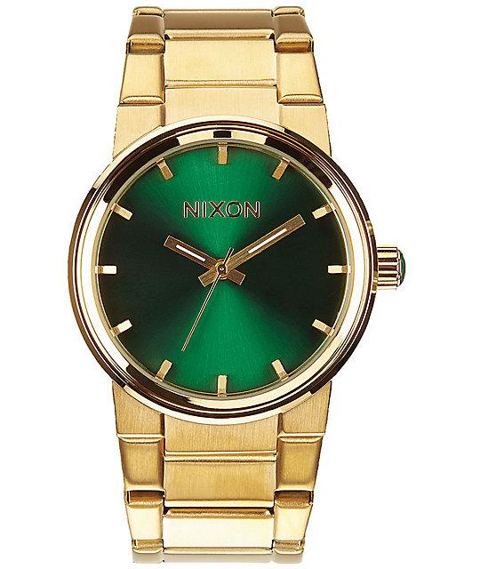 Nixon cannon gold green analog watch zumiez for Watches zumiez
