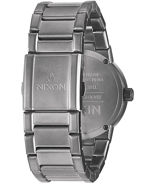Nixon Cannon Gunmetal & Crystal Blue Analog Watch