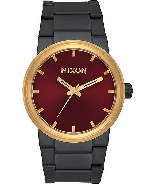 Nixon cannon matte black gold burgundy watch for Watches zumiez