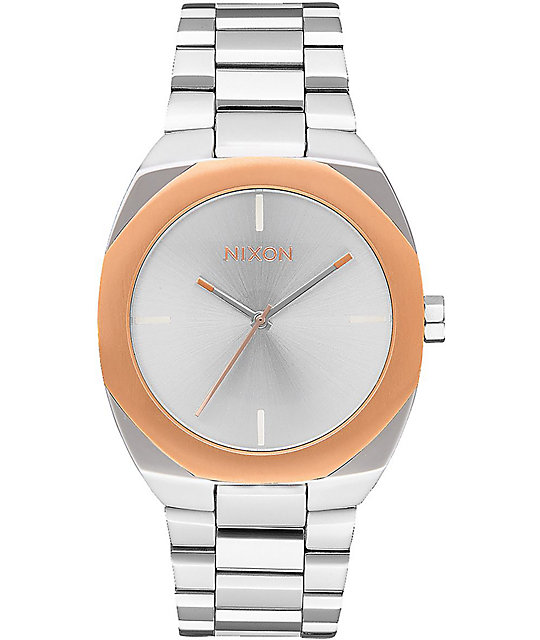 Nixon Catalyst Silver & Rose Gold Analog Watch