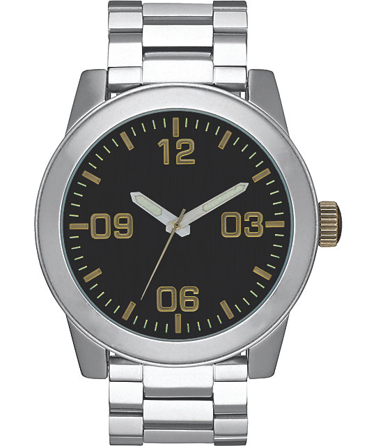 Nixon Corporal SS Black & Brass Watch