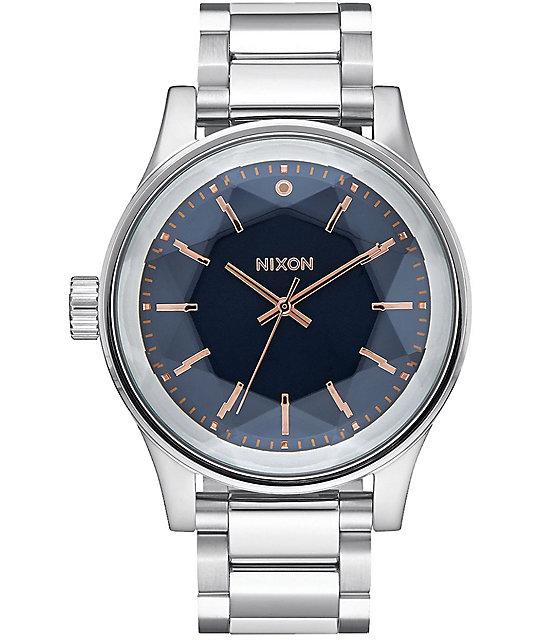 Nixon Facet Silver, Navy & Rose Gold Watch