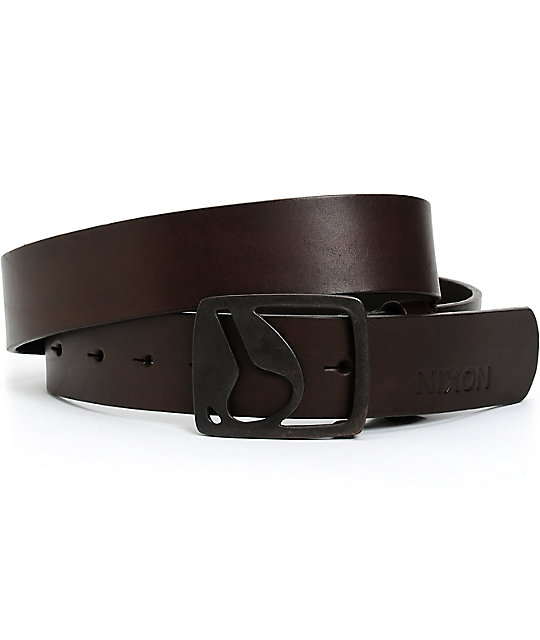nixon icon cut out leather belt