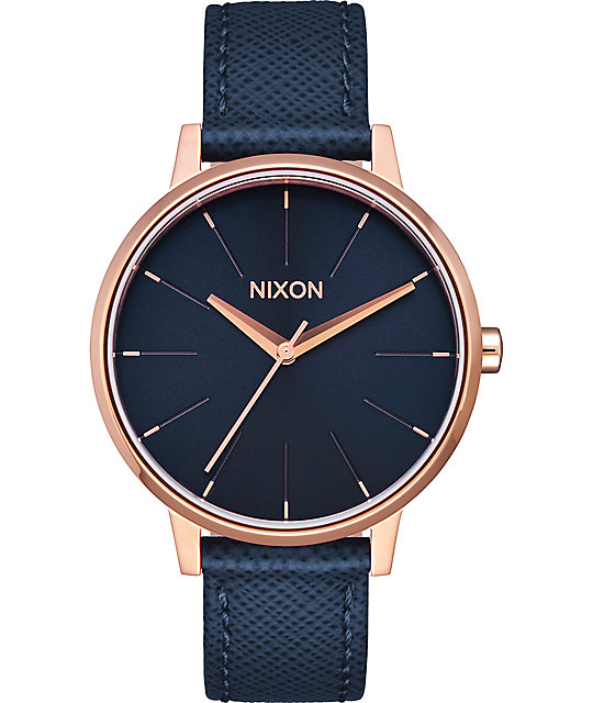 Nixon Kensington Leather Navy & Rose Gold Watch