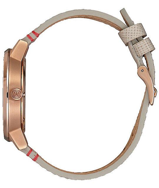 Nixon Kensington Leather Rose & Brown Analog Watch