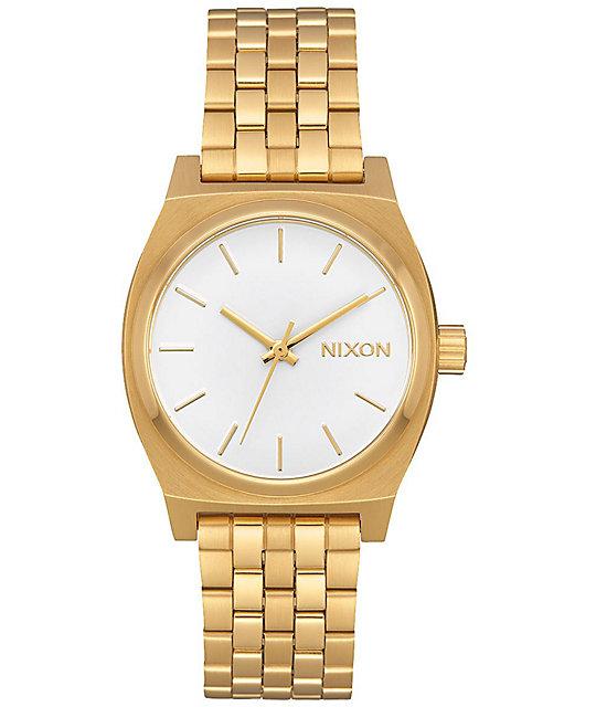 Nixon medium time teller all gold white analog watch at zumiez pdp for Watches zumiez