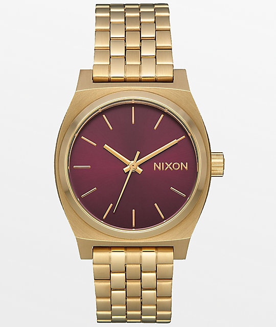 Nixon medium time teller light gold bordeaux sunray watch for Watches zumiez