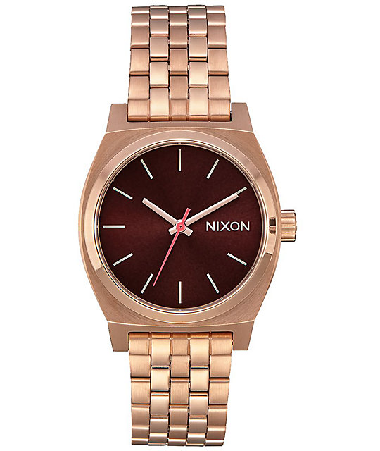 Nixon Medium Timeteller Rose Gold & Brown Analog Watch