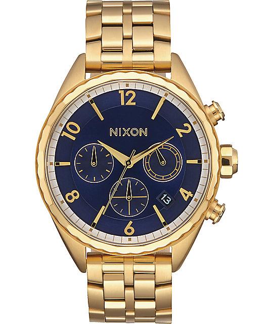 Nixon Minx Chrono All Gold & Navy Watch