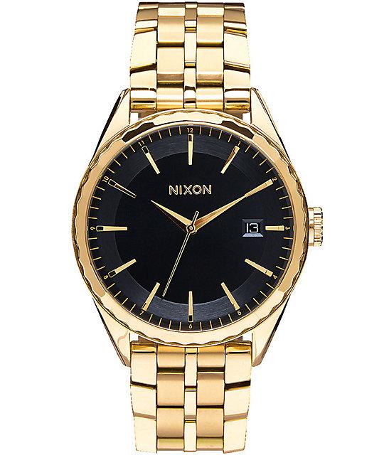 Nixon Minx reloj en negro y color oro