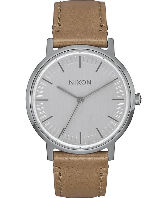 Nixon Porter 35 Leather Gunmetal & Taupe Watch