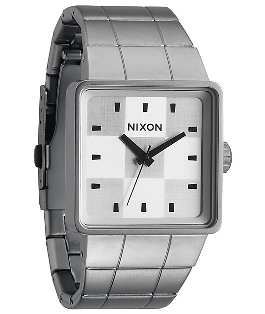 Nixon Quatro White & Sanded Steel Analog Watch