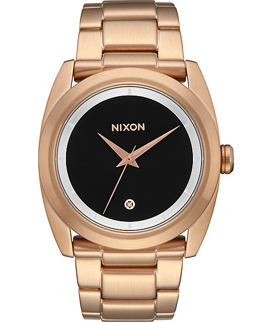 Nixon queenpin rose gold black sunray watch at zumiez pdp for Watches zumiez