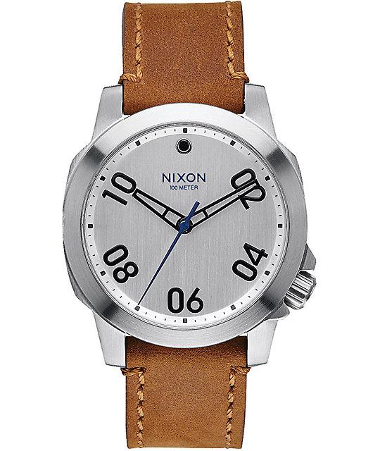 Nixon Ranger 40 Silver & Leather Watch