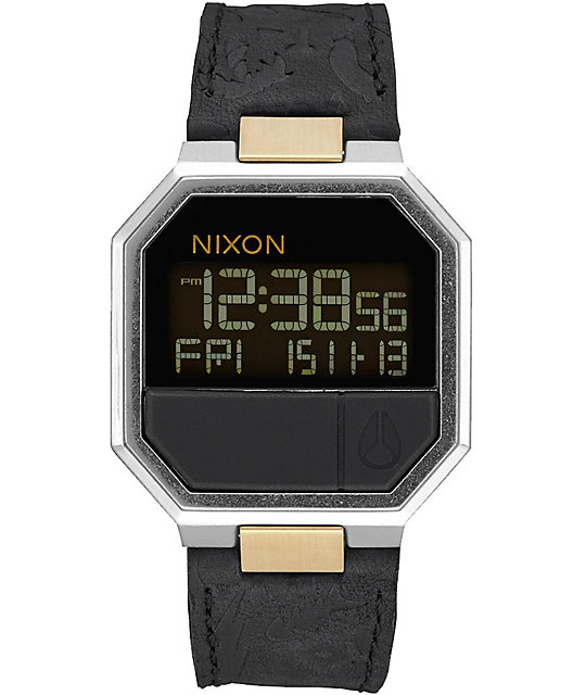 Nixon Re-Run Black & Brass Leather Digital Watch