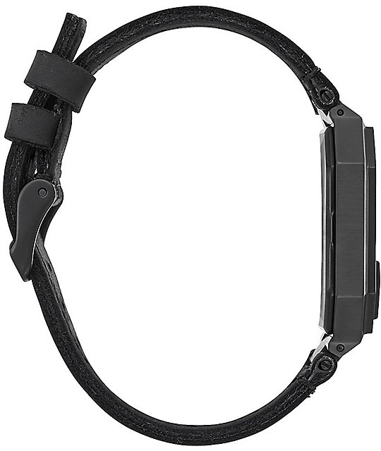 Nixon Re-Run Leather All Black Digital Watch