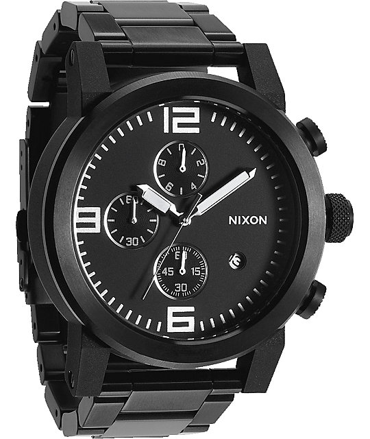 Nixon Ride SS All Black Chronograph Watch