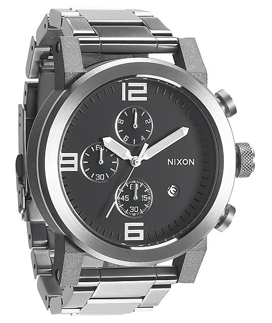 Nixon Ride SS Black & Chrome Chronograph Watch