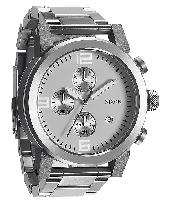 Nixon Ride SS White & Chrome Chronograph Watch