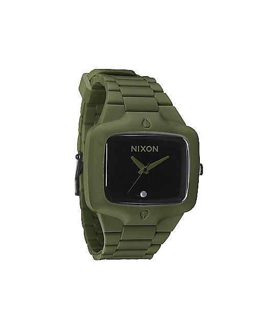 Nixon Rubber Player Army Green Analog Watch