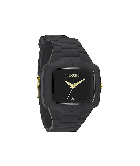 Nixon Rubber Player Matte Black & Gold Analog Watch