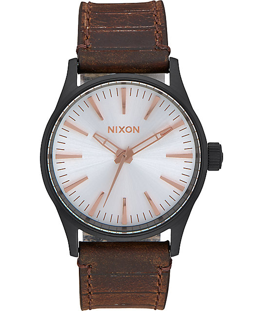 Nixon Sentry 38 Leather Black, Silver & Brown Watch