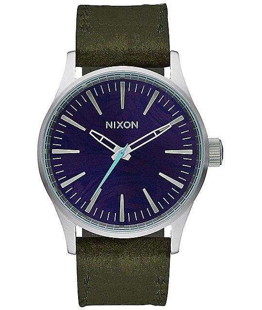 Nixon Sentry 38 Leather Purple & Olive Analog Watch