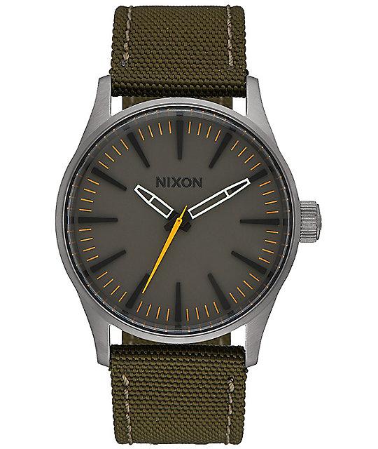 Nixon Sentry 38 Nylon Surplus & Brown Watch