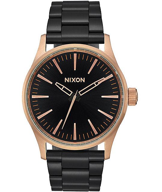 Nixon Sentry 38 SS Black & Rose Gold Analog Watch