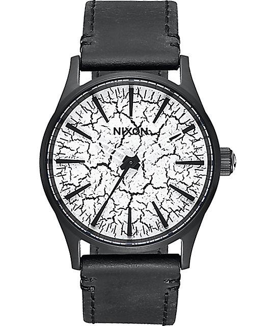 Nixon Sentry 38 reloj negro crepitaba con cuero