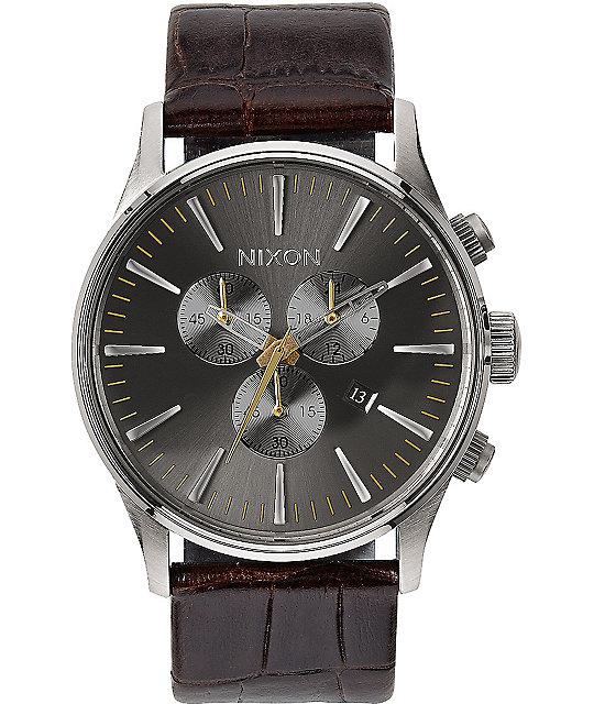 Nixon sentry chronograph leather analog watch at zumiez pdp for Watches zumiez