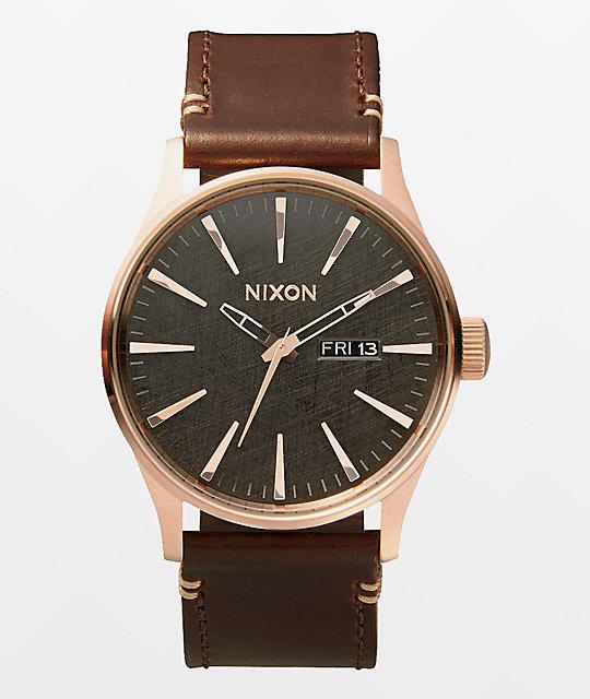 Nixon sentry leather analog watch at zumiez pdp for Watches zumiez