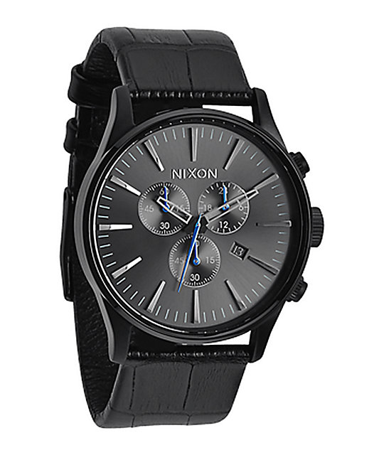 Nixon sentry leather chronograph analog watch at zumiez pdp for Watches zumiez