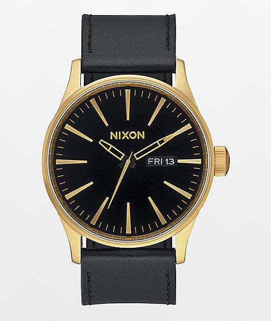 nixon sentry leather gold black analog
