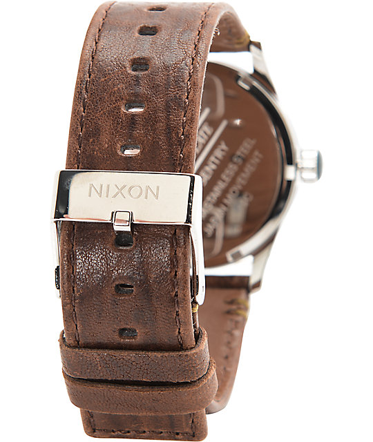 Nixon Sentry Leather Navy & Rose Gold Watch